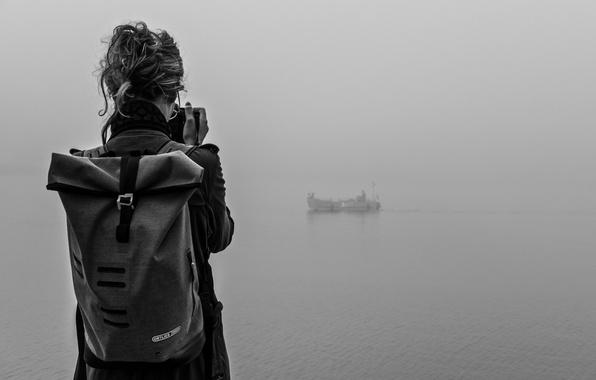 Picture girl, photo, lake, fog, boat, mist, adventure, traveling