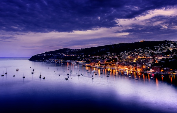Picture sea, the sky, clouds, the city, lights, the evening, twilight, France, the Cote d'Azur, Villefranche