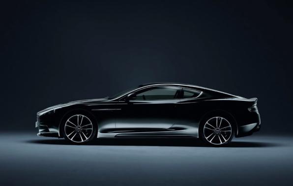 Picture Aston Martin, Auto, Vantage, Black, Machine, Coupe, Side view