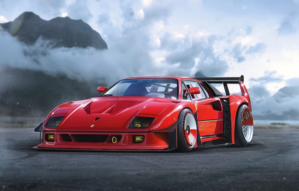 Picture Concept, Ferrari, Red, F40, Car, by Khyzyl Saleem