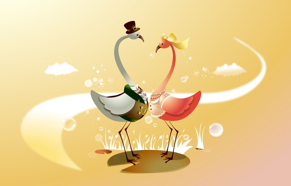 Picture birds, mood, holiday, vector, art, the bride, wedding, the groom