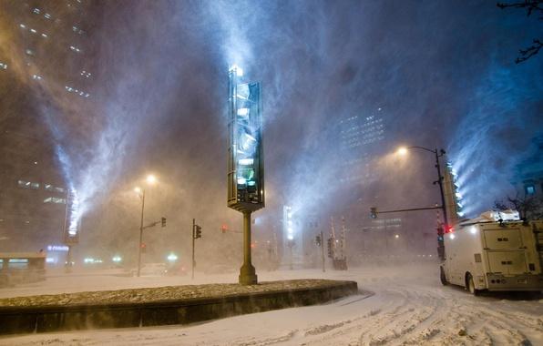 Picture winter, road, machine, street, traffic light, Blizzard, traffic lights