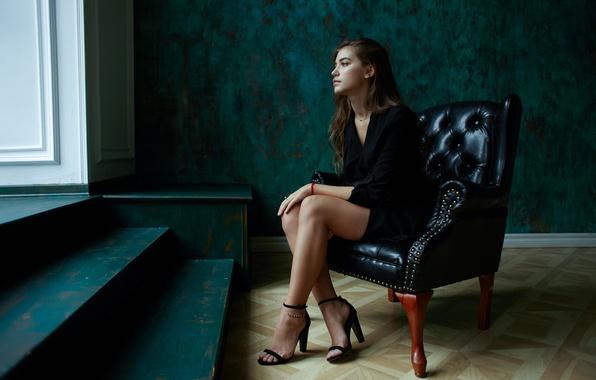 Wallpaper Girl, Reverie, Face, Hair, Chair, Sitting, Cutie -4020