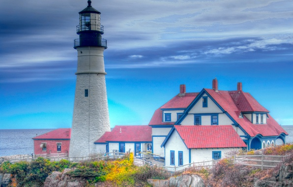 Picture roof, sea, autumn, the sky, house, rocks, lighthouse, hdr