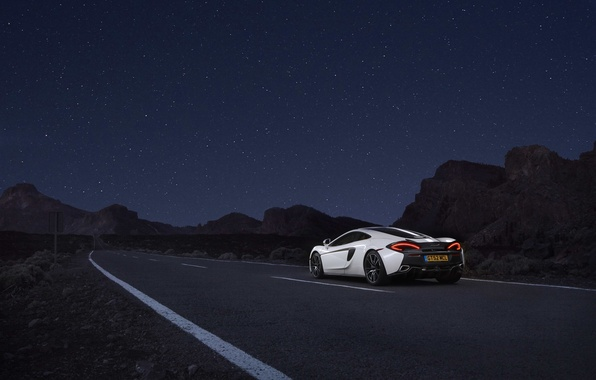 Picture road, auto, white, the sky, McLaren, stars, supercar, 570GT
