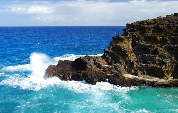 Picture sea, wave, the sky, clouds, squirt, rock