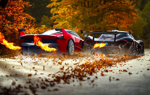 Picture McLaren, Ferrari, Red, Fire, Black, Supercars, Exhaust, FXX K, Foliage
