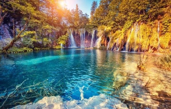 Picture landscape, waterfall, landscape, nature, lake