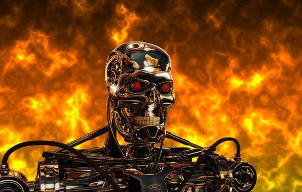Picture metal, fire, steel, robot, cyborg, terminator, Terminator, t-800