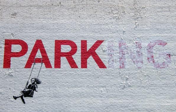 Picture girl, graffiti, banksy, stencil, park-ing