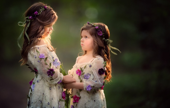 Picture flowers, background, mood, girls, wreaths, sisters
