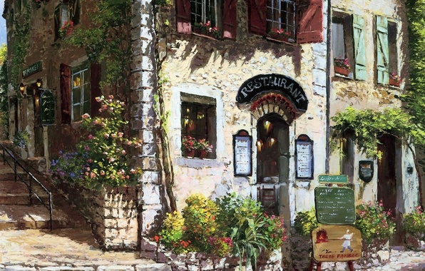 Picture flowers, house, street, Windows, picture, stage, sign, shutters, menu, patio, beds, Sung Sam Park