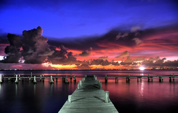 Picture the sky, clouds, sunset, clouds, lights, Marina, the evening, pierce