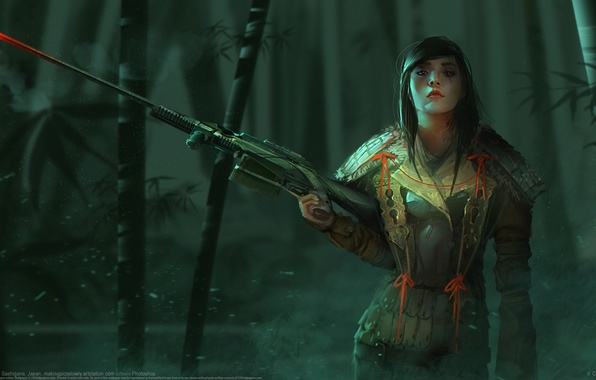 Picture girl, weapons, sniper, Richard Sashigane