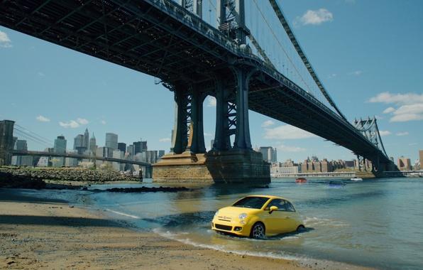 Picture bridge, city, the city, ascent, New York, advertising, USA, USA, America, bridge, New-York, Fiat 500, …