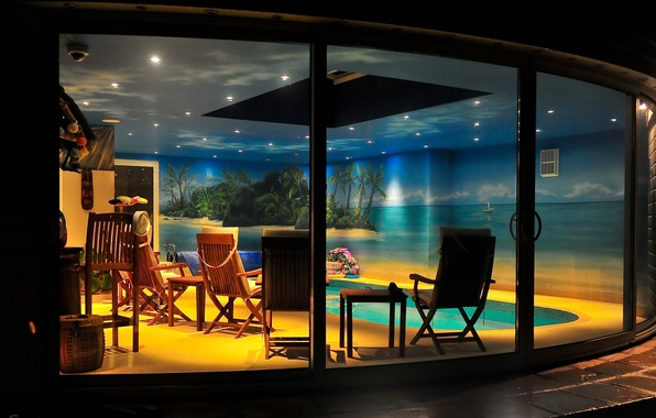 Picture design, house, style, Villa, interior, pool, living space, pool at night
