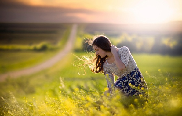 Picture road, field, girl, the wind, space