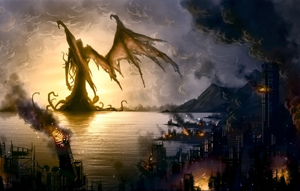 Picture the city, fire, monster, destruction, Bay, coastal, Howard Phillips Lovecraft, The Call Of Cthulhu