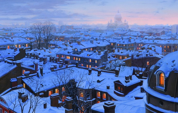 Picture winter, snow, the city, home, the evening, roof, Saint Petersburg, Cathedral, painting, cathedral, winter, snow, ...
