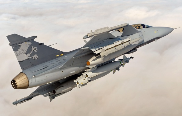 Picture the sky, clouds, the plane, height, fighter, You can, Gripen, JAS