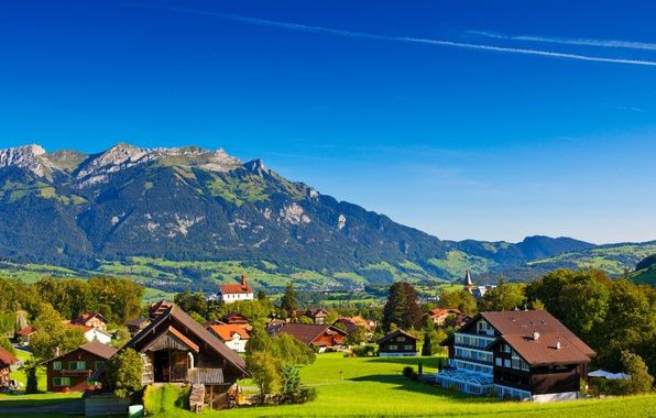 Picture greens, summer, trees, landscape, mountains, nature, hills, home, Switzerland, Alps, houses, Switzerland, Alpes, Alps