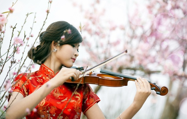 Picture girl, music, violin, Asian