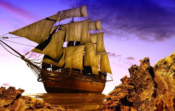 Picture photo, Rocks, Ship, Sailboat, 3D Graphics