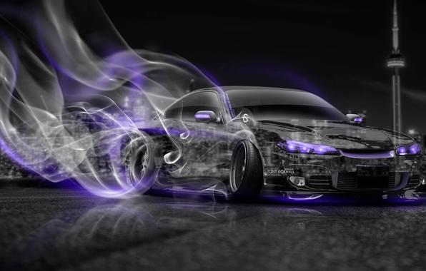Picture Night, The city, Smoke, Neon, Style, Nissan, City, Drift, S15, Silvia, Nissan, Drift, Car, Purple, …