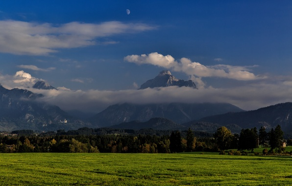 Picture autumn, mountains, castle, Germany, Germany, autumn, mountain, castle, Bavarian Landscape, Bavarian, Bavarian landscape, горы Säuling, …