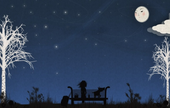 Picture bench, night, loneliness, vector