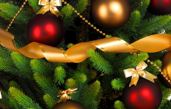 Picture balls, decoration, holiday, toys, tree, branch, New Year, Christmas, Christmas, gold, New Year, Christmas
