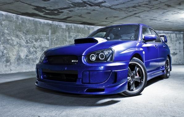 Picture machine, auto, wall, the tunnel, sedan, subaru, blue, wrx, impreza, Subaru, sports, sti, Impreza