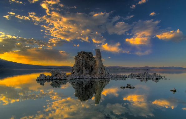 Picture clouds, sunset, lake, reflection, island