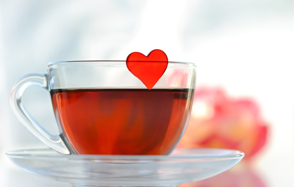 Picture glass, tea, Cup, heart, saucer