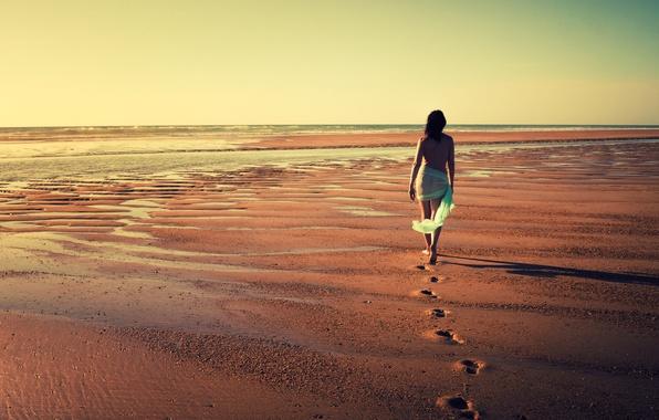 Picture sea, girl, mood