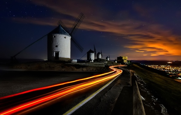 Picture road, the sky, stars, light, night, excerpt, Spain, windmills, brillanti