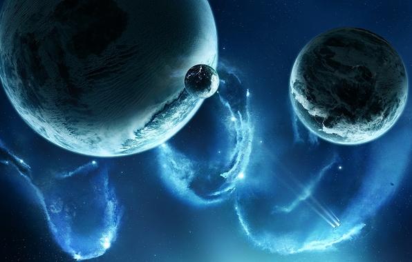 Picture space, stars, nebula, planet, ships, satellites