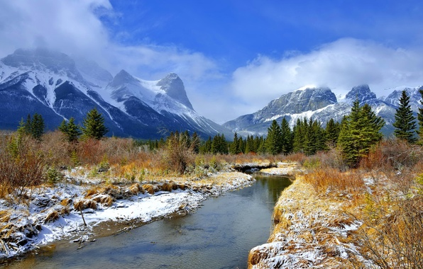 Picture the sky, clouds, snow, trees, river, Mountains