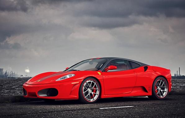 Picture F430, Ferrari, Red, Clouds, Sky, Landscape, Water, Supercar, Factory