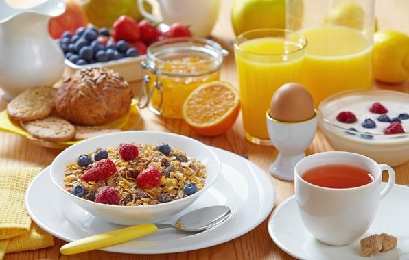 Picture tea, egg, Apple, orange, milk, cookies, blueberries, strawberry, juice, spoon, mug, glasses, drink, lemons, jam, ...