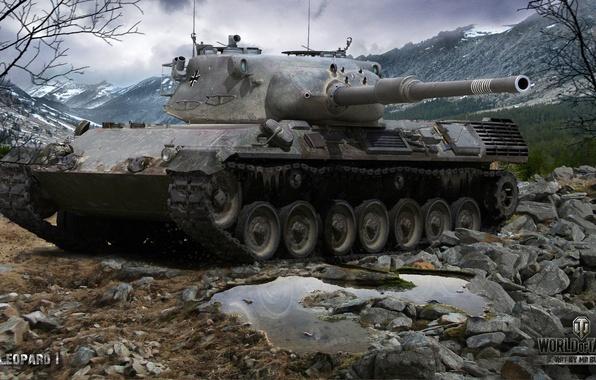 Picture landscape, mountains, stones, tank, German, average, World of Tanks, Leopard 1