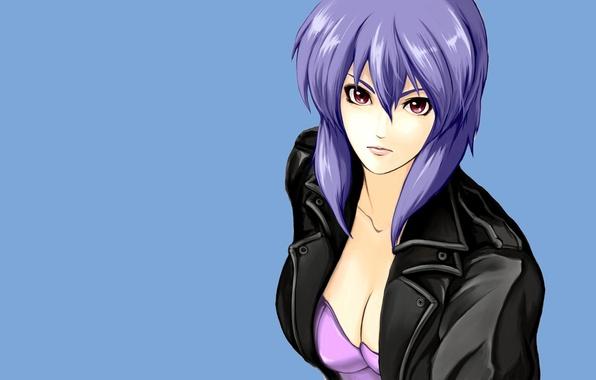 Wallpaper look girl background ghost in the shell purple hair leather jacket the fireworks - Motoko kusanagi wallpaper ...