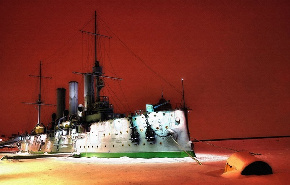 Picture Winter, Night, River, Ice, Ship, Aurora, Cruiser, Military, Armored cruiser