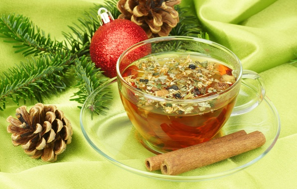 Picture tea, spruce, branch, ball, New Year, Christmas, Cup, cinnamon, Christmas, bumps, New Year