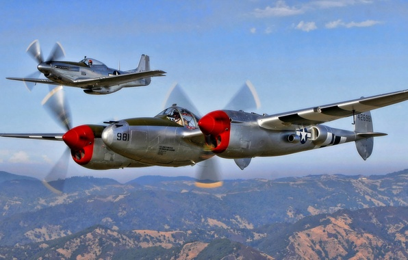 Picture the sky, flight, earth, mustang, fighter, screw, pilot, P-51, North American, ww2, lighting, P-38G
