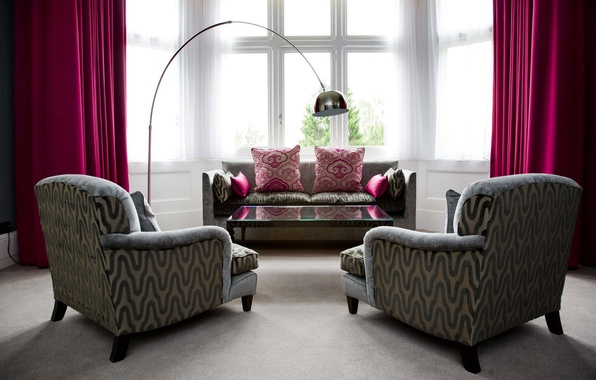 Picture design, style, table, room, sofa, interior, chair, pillow, curtains, pink, apartment