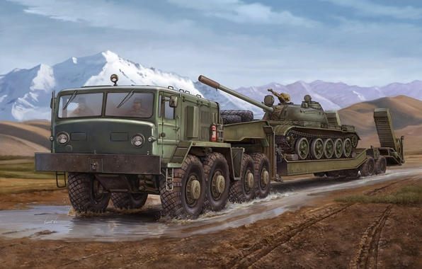 Picture engine, art, artist, Russia, military, tractor, for, saddle, designed, conveyor, transportation, goods, tank, installed, Vincent ...