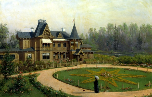 Picture forest, house, river, star, the building, people, round, picture, figure, painting, dog, flowerbed, lady, Lagorio, ...