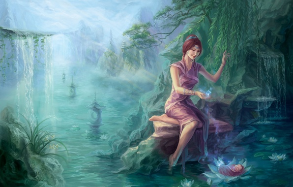Picture forest, water, girl, river, rocks, magic, Asia, waterfall, child, art, Lotus, river, pond, baby, willow