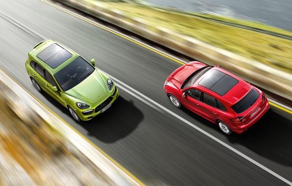 Picture road, red, speed, jeep, green, Porsche Cayenne